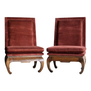 Rust Velvet Chinoiserie Slipper Chairs, a Pair For Sale