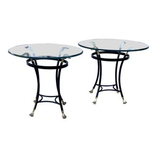 1970s Regency Black Lacquered Side Tables With Brass Feather Styled Finnials - a Pair For Sale