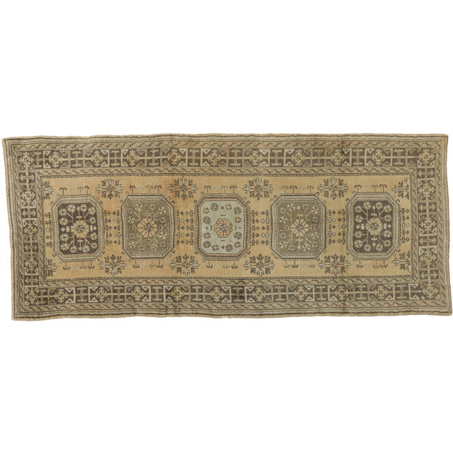 Vintage Mid-Century Turkish Oushak Runner Rug - 5′ × 12′ For Sale In Dallas - Image 6 of 7