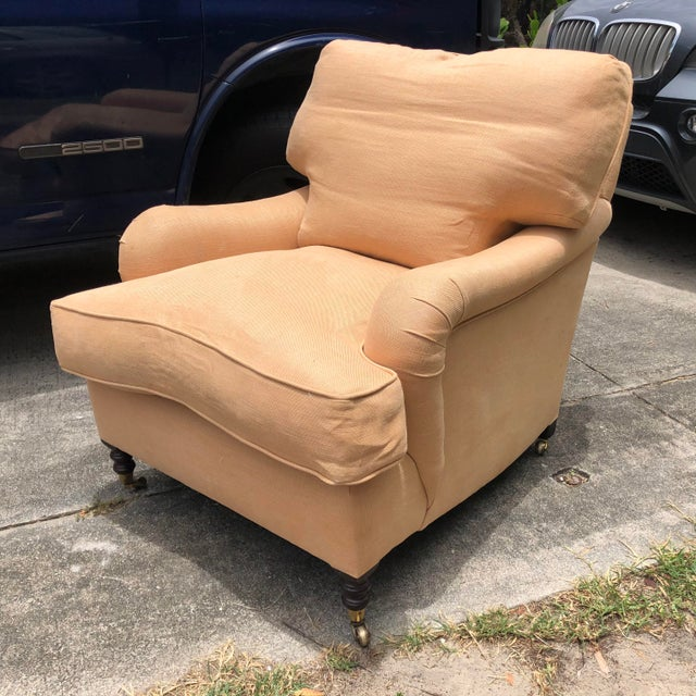 Gold George Smith Hand Made Classic Club Lounge Arm Chair For Sale - Image 8 of 8