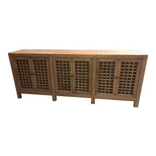 Natural Lattice 6 Door Cabinet For Sale