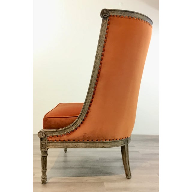 Metal French Style Modern Orange Velvet High Back Lounge Chair For Sale - Image 7 of 8