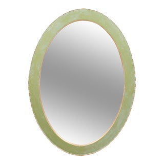 Solid Oak Oval Mirror Circa 1900 Painted Celery Green, Cerused White & Gold Gilt For Sale