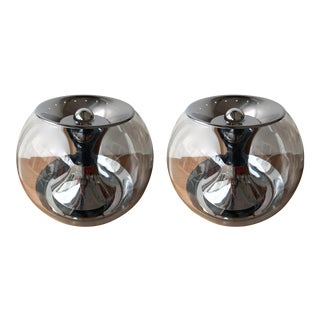 1970s Metal and Glass T417 Ball Lamps by Luci, Italy - a Pair For Sale