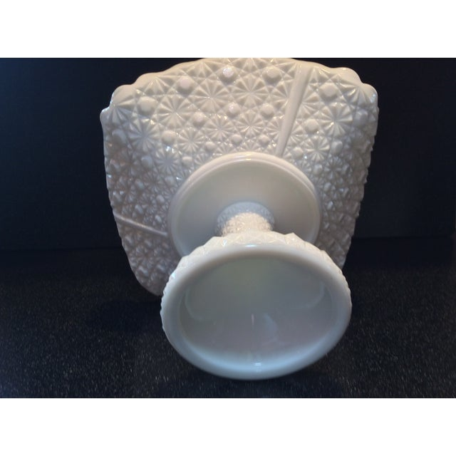 Cottage 1950s Vintage Fenton Milk Glass Daisy and Button Pedestal Bowl For Sale - Image 3 of 12