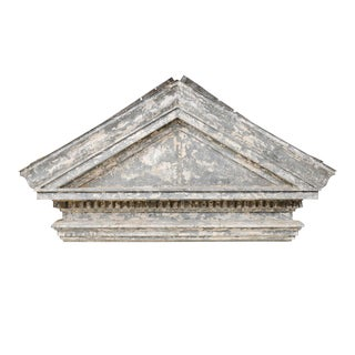 19th Century American Zinc Pediment With Dentil Molding For Sale