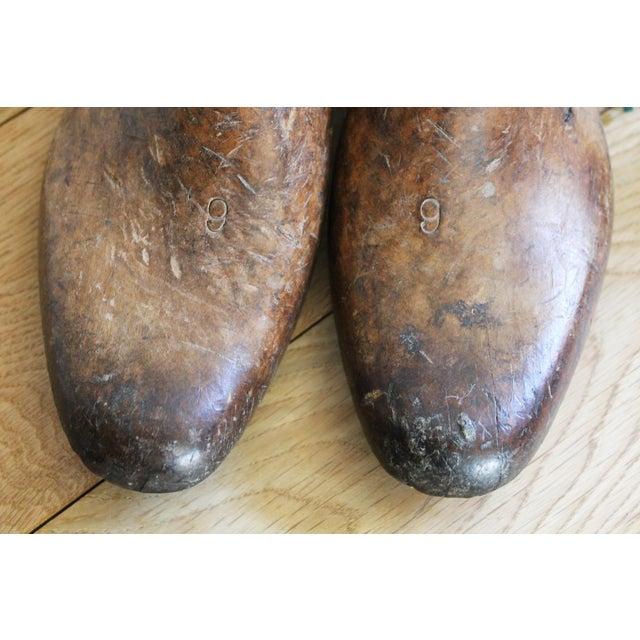 Primitive Vintage Mens Wooden Shoe Molds For Sale - Image 3 of 7