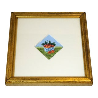 """Miniature """"Cherries"""" Original Framed Watercolor by David Pole For Sale"""