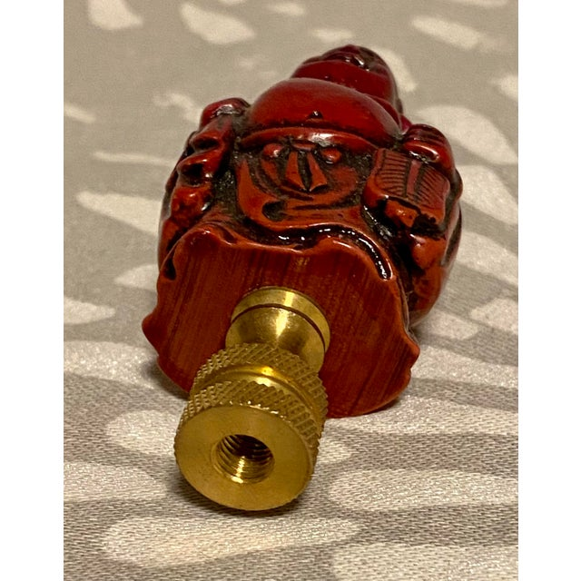 1960s Vintage Lacquered Wood Buddha Lamp Finial For Sale In Saint Louis - Image 6 of 7