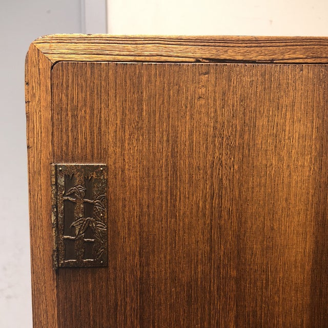 Gold Vintage Japanese Bamboo Motif Two-Piece Armoire For Sale - Image 8 of 11
