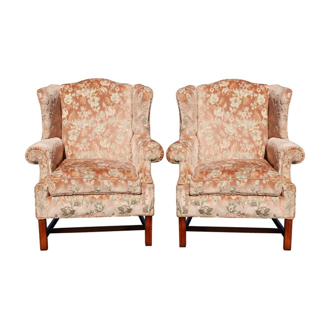 Pink Floral Wingback Chairs in Blush - a Pair For Sale - Image 8 of 8