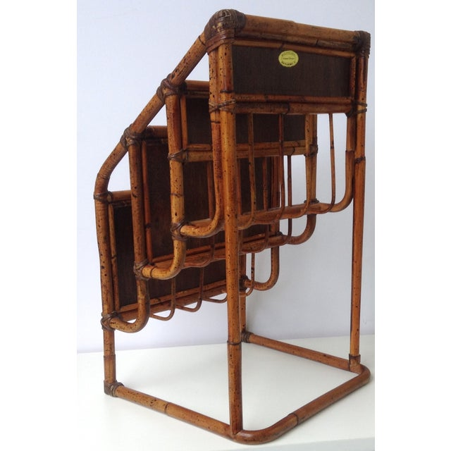 Vintage Bamboo Leather-Wrapped Magazine Stand - Image 8 of 11