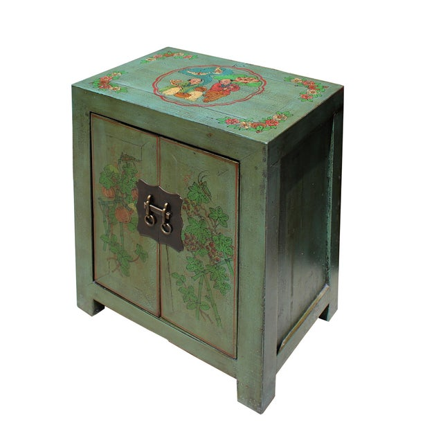 Distressed Grass Green Lacquer Graphic Side End Table Nightstand For Sale - Image 4 of 8
