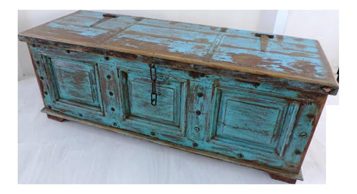Antique Blue Storage Trunk