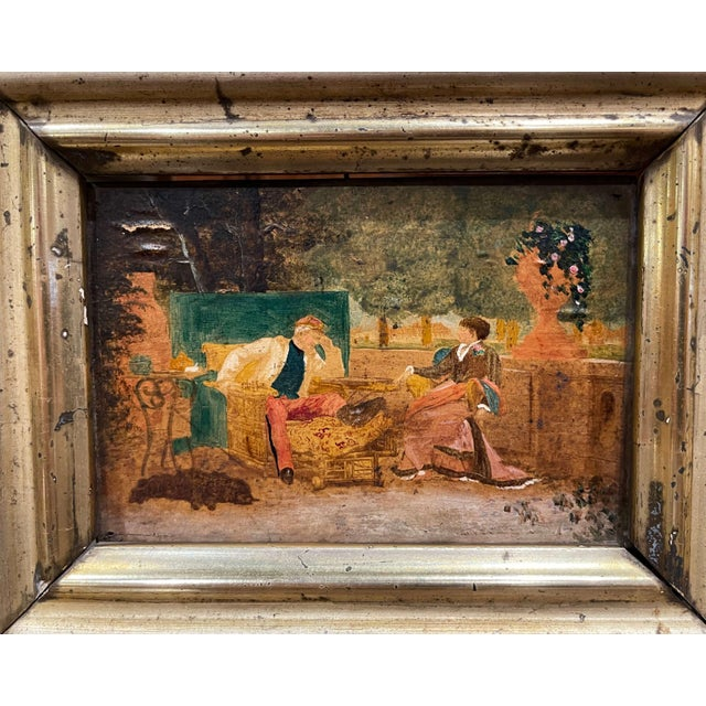 19th Century French Oil on Board Paintings in Carved Gilt Frames - a Pair For Sale - Image 4 of 9
