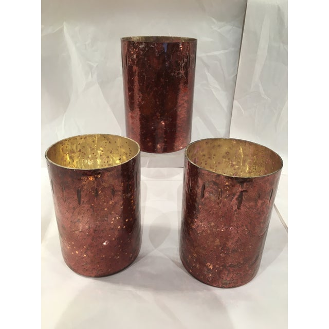 Red Mercury Glass Hurricane Candles - Set of 3 - Image 2 of 4