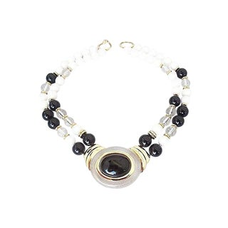 Trifari Clear Lucite & Faux-Onyx Cabochon Necklace For Sale