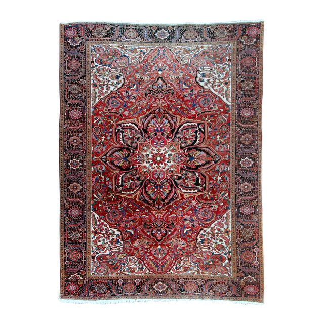"""Antique Persian Heriz Rug - 9' 11"""" by 13' 1"""" For Sale"""