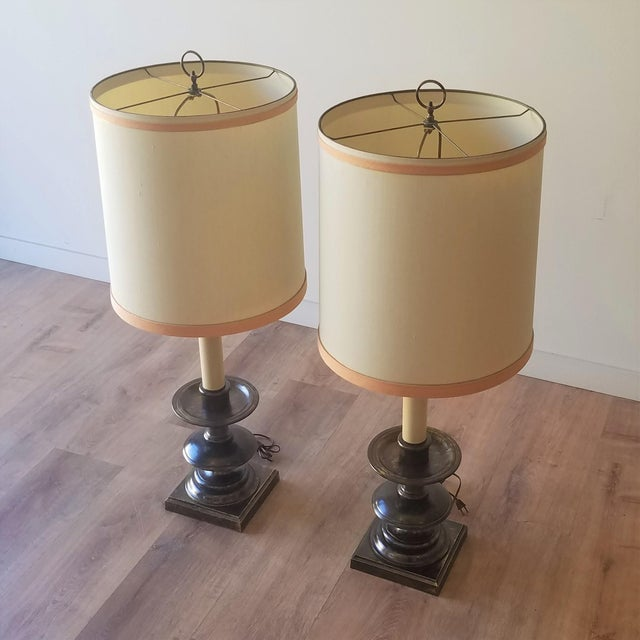 Frederick Cooper Mid 20th Century Bronze Table Lamps With Original Shades - a Pair For Sale - Image 10 of 12
