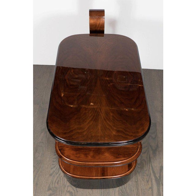 Chrome Streamlined Art Deco End Table or Dry Bar Cabinet in Book-Matched Exotic Walnut For Sale - Image 7 of 10