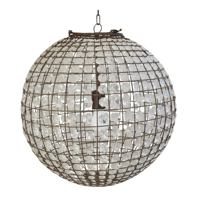 Late 20th Century Crystal Prism Sphere Ball Chandelier For Sale