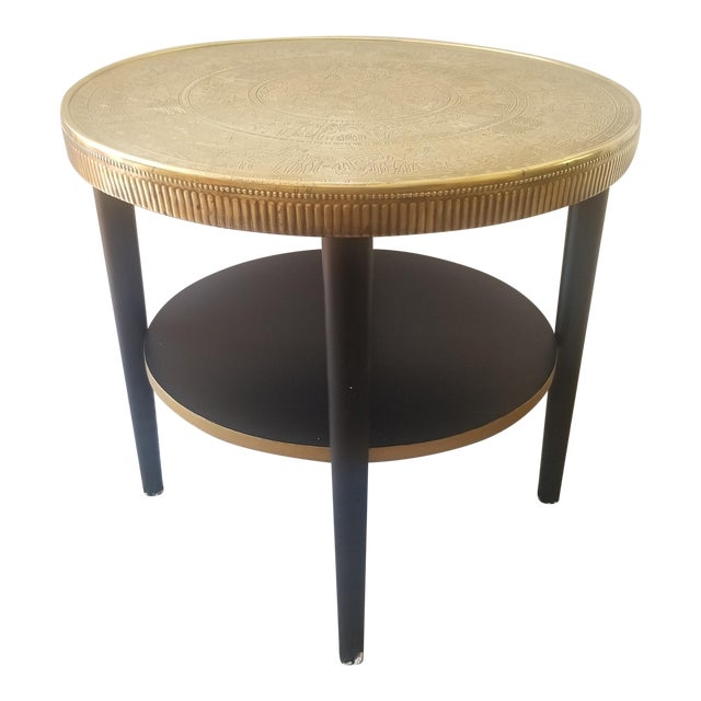 Vintage Egyptian Revival Brass Top Double Tiered Accent Table For Sale