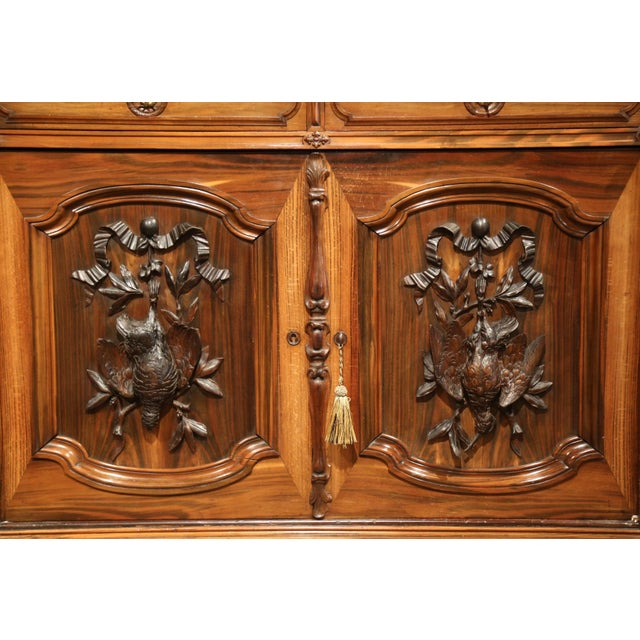 Large 19th Century French Carved Rosewood Hunting Buffet With Deer and Birds For Sale - Image 4 of 11