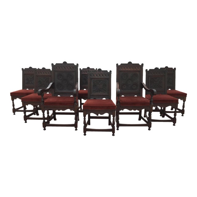 Jacobean Carved Oak Dining Chairs - Set of 8 - Image 1 of 7