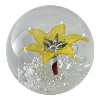 1960s Yellow Floral Italian Ferro & Lazzarini Murano Glass Paperweight For Sale