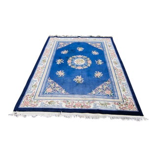 Mid-20th Century Chinoiserie White and Blue Cotton Area Rug For Sale