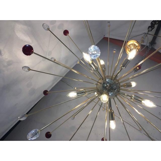 Murano Transparent and Red Murano Glass Triedo and Gold 24k Sputnik Frame For Sale - Image 4 of 13