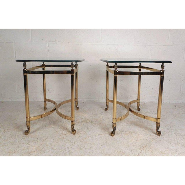 Vintage Modern Brass End Tables With Glass Tops - a Pair