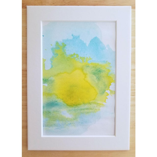 """Lemon Sun"" Modern Abstract Original Watercolor Painting - Image 3 of 5"