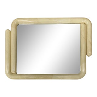Karl Springer Style Faux Goatskin Lacquered Mirror For Sale