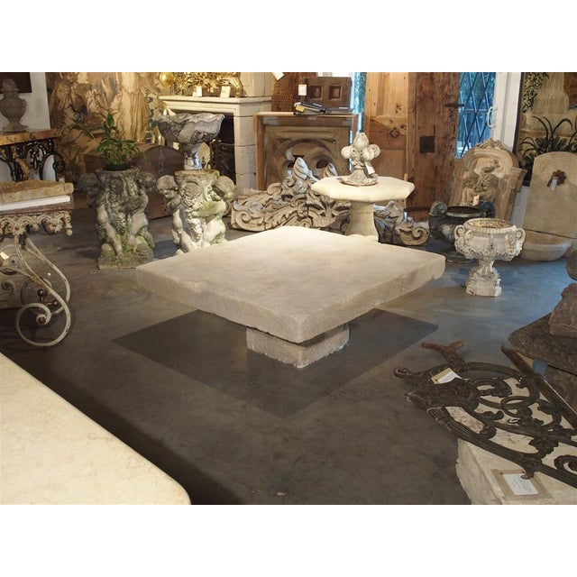 White Large Limestone Coffee Table From Provence, France For Sale - Image 8 of 12