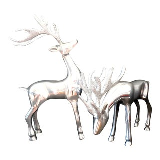 Christmas Decor, 1980s Pewter Reindeers - Set of 2 For Sale