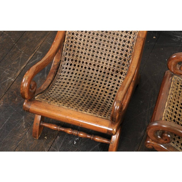 Pair of French 19th Century English Children's Chairs With Cane Backs and Seats For Sale - Image 10 of 11