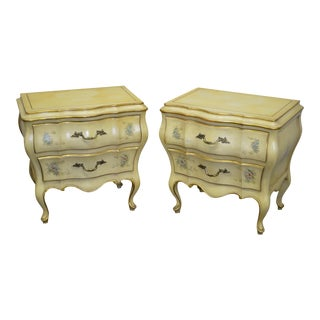 Union National Vintage French Louis XV Style Hand Painted Bombe Nightstands Chests - a Pair