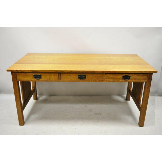 """Stickley Mission Collection Fayetteville Oak 66"""" Spindle Library Office Desk For Sale - Image 11 of 12"""