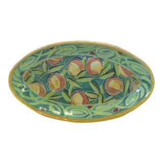 Large Oval Studio Ceramic Serving Bowl Hand Painted by California Artists T.S. Post 1991 For Sale