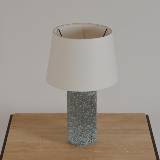 Haeger Art Deco Shagreen Glaze Ceramic Lamp With Parchment Shade For Sale - Image 4 of 11