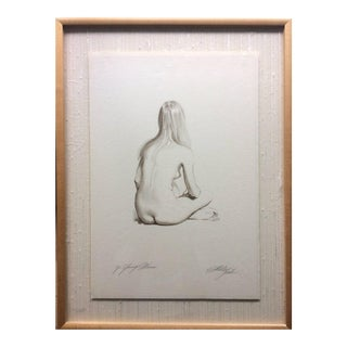Original Pencil Drawing Sitting Nude by Sheldon Shelly Fink American For Sale