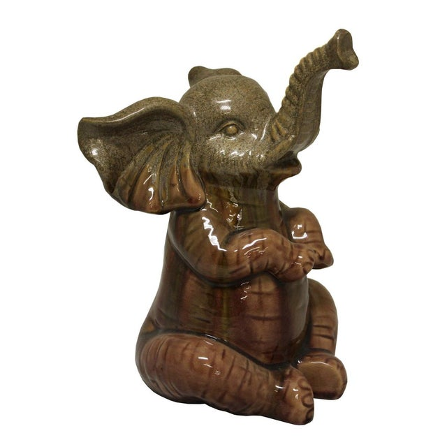 Boho Chic Ceramic Green Baby Elephant Figure For Sale - Image 3 of 5