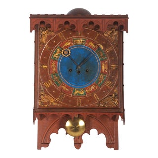 19th Century Danish Wooden Zodiac Clock in Gothic Style For Sale