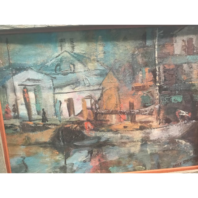 Mid Century Acrylic Painting of a Boat Scene by Emily Spencer For Sale - Image 5 of 6