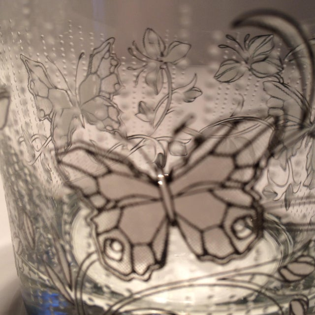 Vintage Butterfly Design Low Ball Glasses - Set of 6 - Image 8 of 11