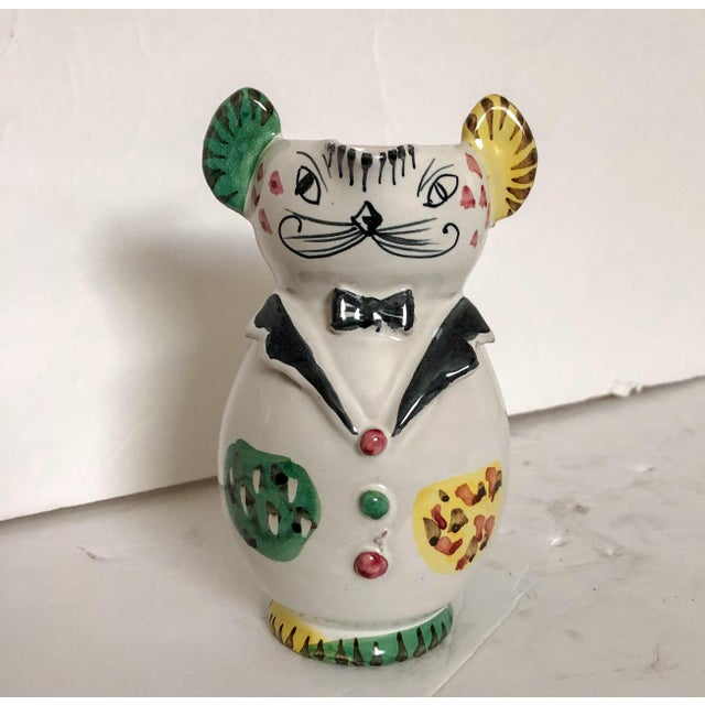 Fascinating Italian glazed ceramic handthrown pottery pitcher in the shape of a cat dressed in a tux with bowtie. Pitcher...