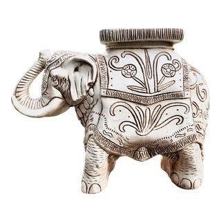 1970s Boho Chic White Ceramic Elephant Garden Stool