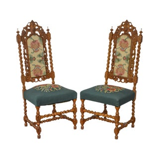 Renaissance Revival Style Pair of Barley Twist Carved Oak Chairs w.a. Hathaway Co.
