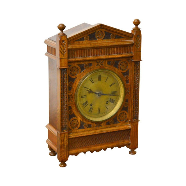 Antique Aesthetic Walnut Mantel Clock attributed to Daniel Pabst For Sale - Image 13 of 13